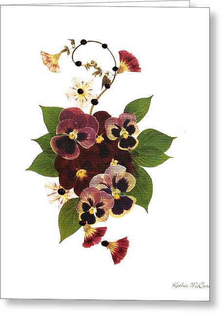 Pressed Flowers Greeting Cards - Enchanted Garden Pansies Greeting Card by Kathie McCurdy