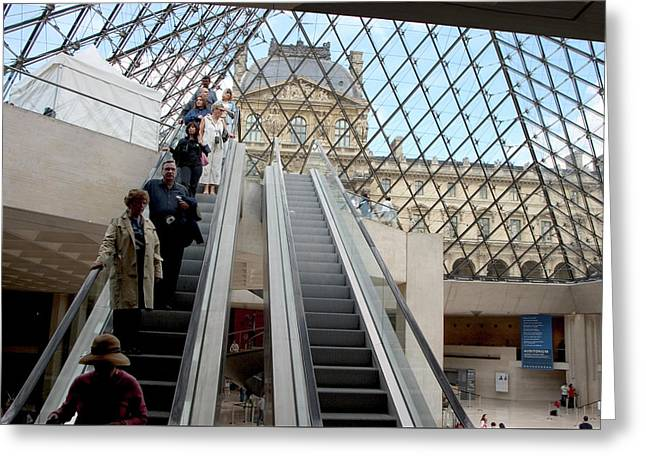 Escalator Entrance To Louvre Greeting Card by Carl Purcell