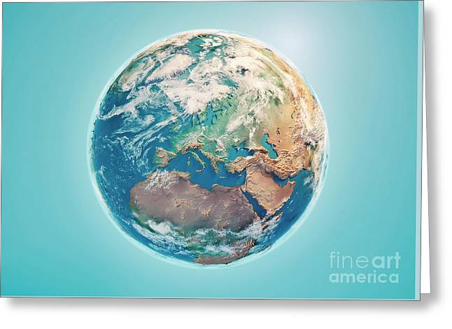 Europe 3d Render Planet Earth Clouds Greeting Card