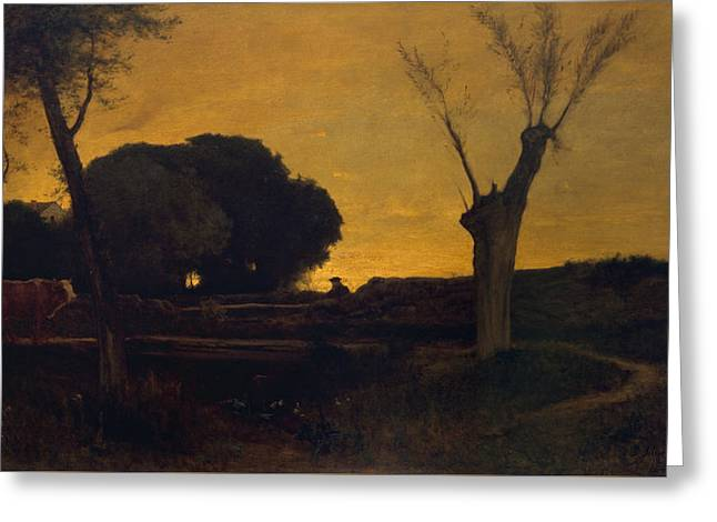 Evening At Medfield, Massachusetts Greeting Card by George Inness