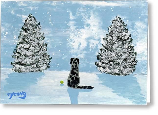 Falling Snow Greeting Card