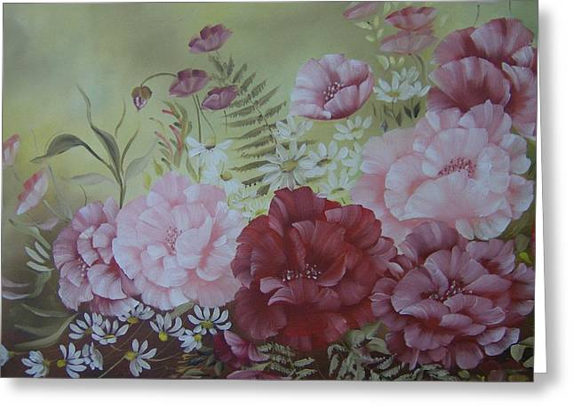 Family Flowers Greeting Card by Leslie Manley