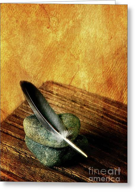 Feather With Stones Greeting Card