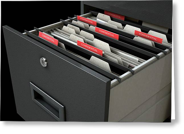 Filing Cabinet Drawer Open Confidential Greeting Card by Allan Swart