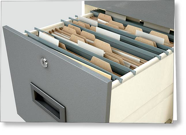 Filing Cabinet Drawer Open Generic Greeting Card by Allan Swart