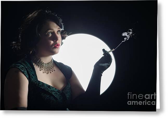 Film Noir Smoking Woman Greeting Card by Amanda Elwell