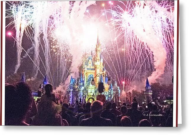 Fireworks, Cinderella's Castle, Magic Kingdom, Walt Disney World Greeting Card