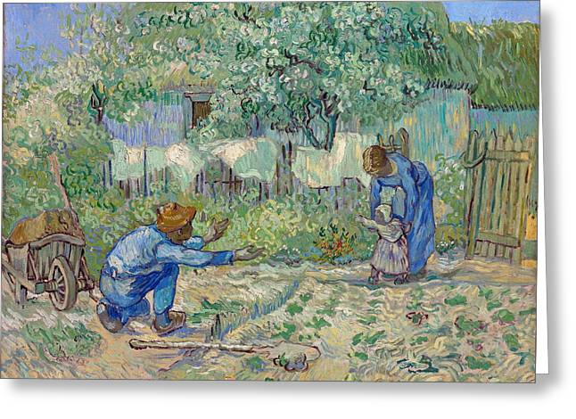 First Steps, After Millet Greeting Card by Vincent van Gogh