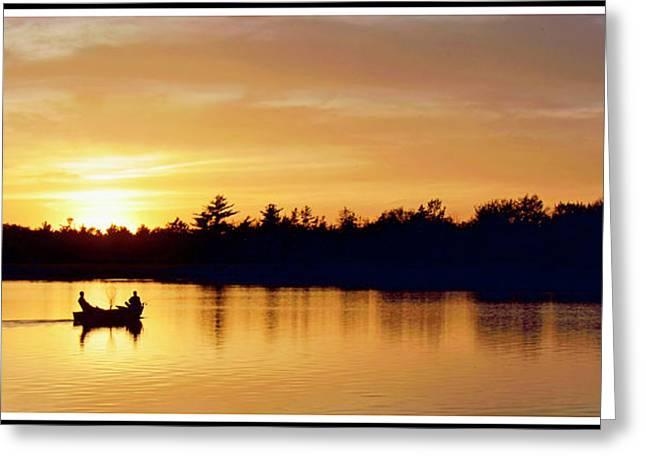 Fishermen On A Lake At Sunset Greeting Card