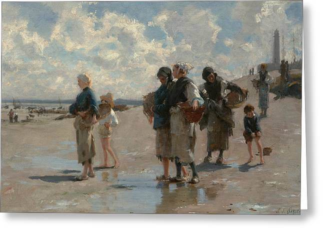 Fishing For Oysters At Cancale Greeting Card by John Singer Sargent