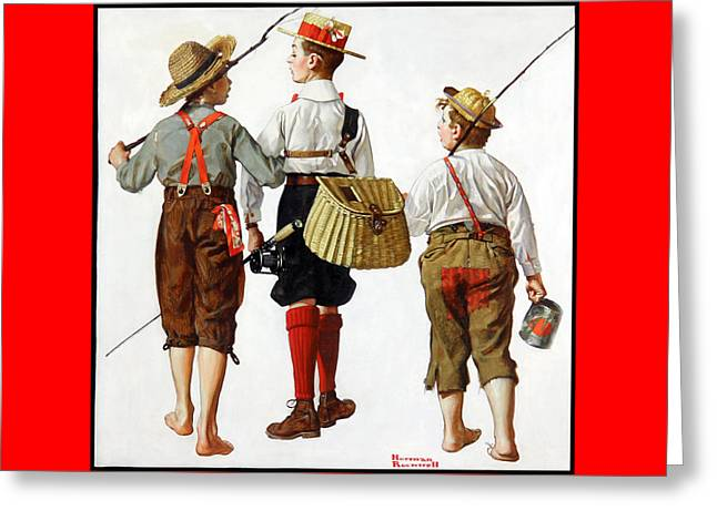 Fishing Trip Greeting Card by Norman Rockwell