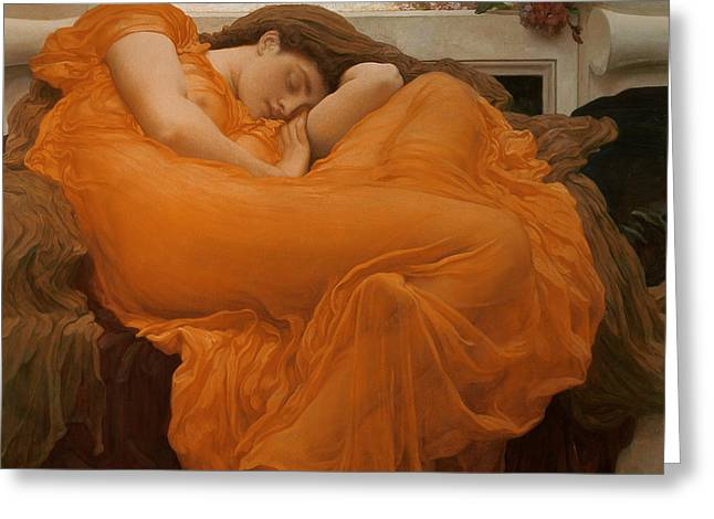 Flaming June Greeting Card by Frederic Leighton