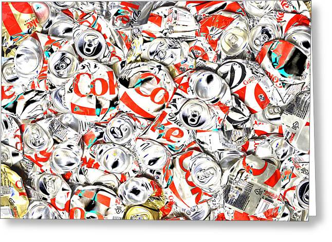 Flattened Coke Cans Greeting Card