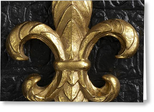 Gold Fleur-di-lis Greeting Card by Tony Cordoza