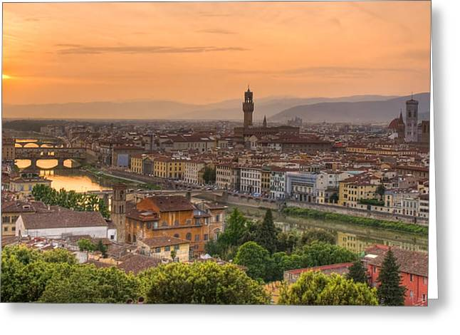 Arno Greeting Cards - Florence Sunset Greeting Card by Mick Burkey