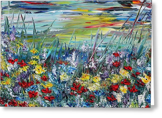 Greeting Card featuring the painting Flower Field by Teresa Wegrzyn