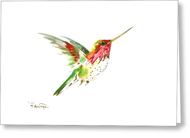 Flying Hummingbird Greeting Card
