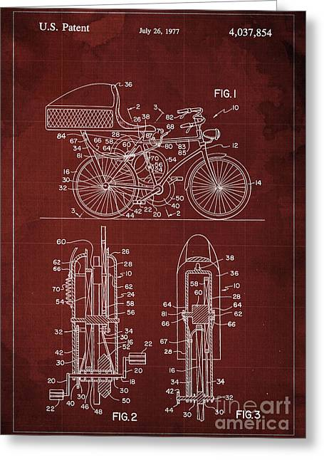 Flywheel Aided Bicycle Patent From 1977 Greeting Card
