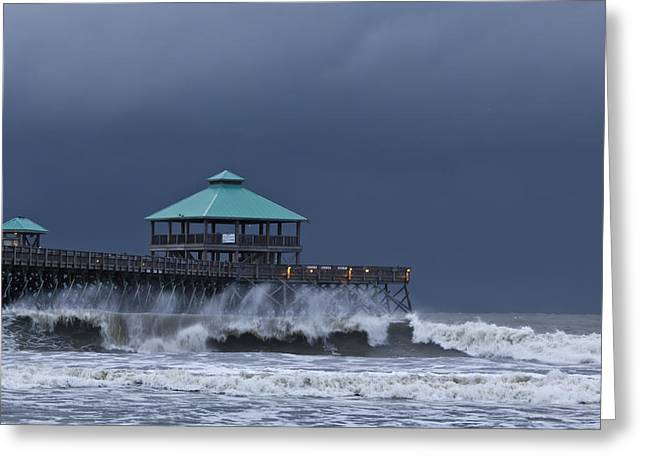 Low-country Greeting Cards - Folly Pier Greeting Card by Drew Castelhano