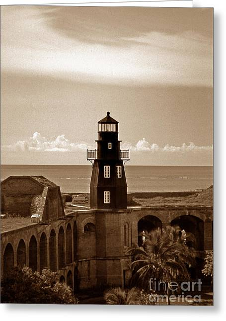 Fort Jefferson Lighthouse Greeting Card by Skip Willits