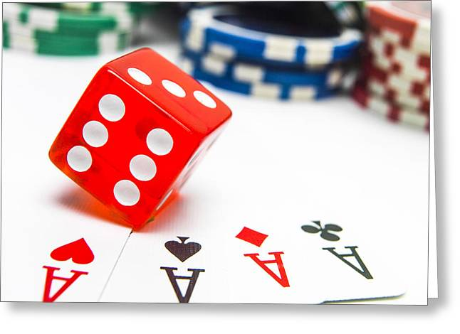 Four Aces And Gambling Greeting Card by Bernard Jaubert