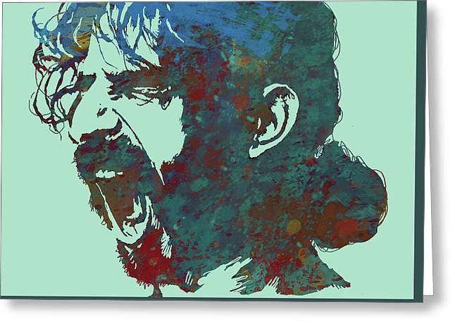Frank Zappa Stylised Pop Art Drawing Potrait Poser Greeting Card by Kim Wang