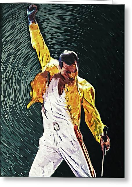 Freddie Mercury Greeting Card by Taylan Apukovska