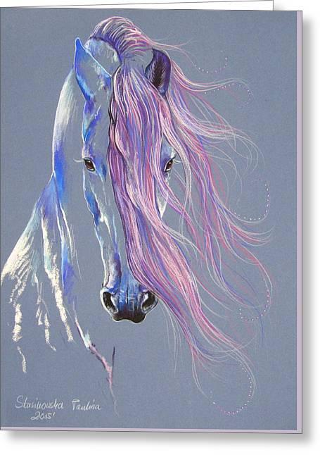 Fresian Stallion Greeting Card by Paulina Stasikowska