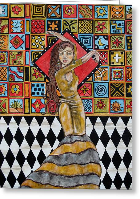 Frida Kahlo Greeting Card by Rain Ririn