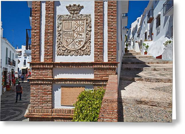 Frigiliana Street Scene, Costa Del Sol Greeting Card