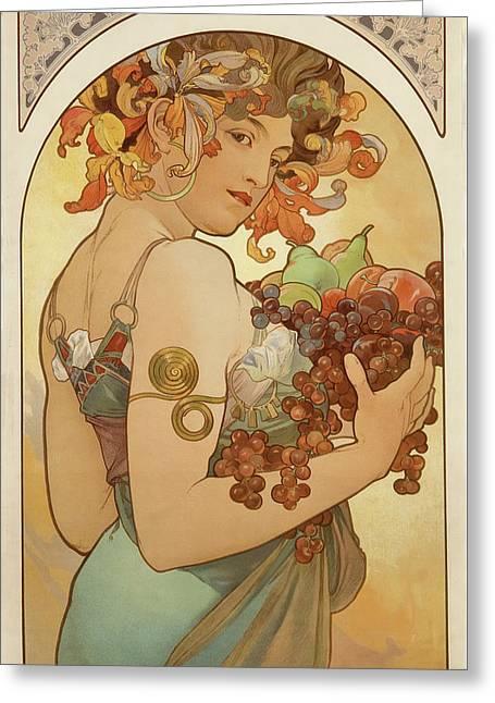 Fruit Greeting Card by Alphonse Mucha