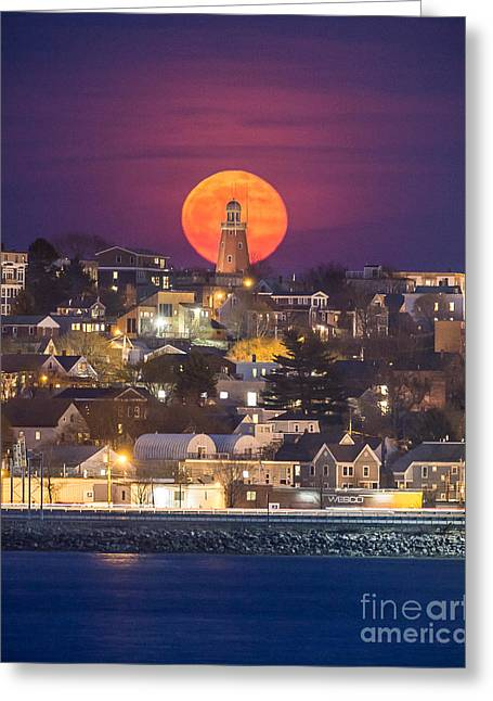 Full Moon Behind The Portland Observatory Greeting Card