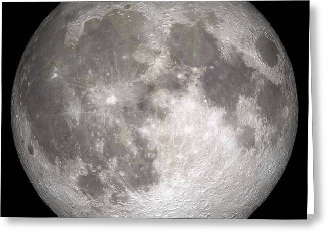 Craters Greeting Cards - Full Moon Greeting Card by Stocktrek Images