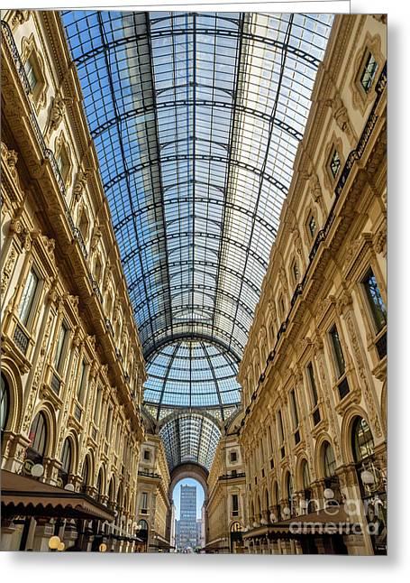 Galleria Vittorio Emanuele II Shopping Art Mall In Milan Greeting Card