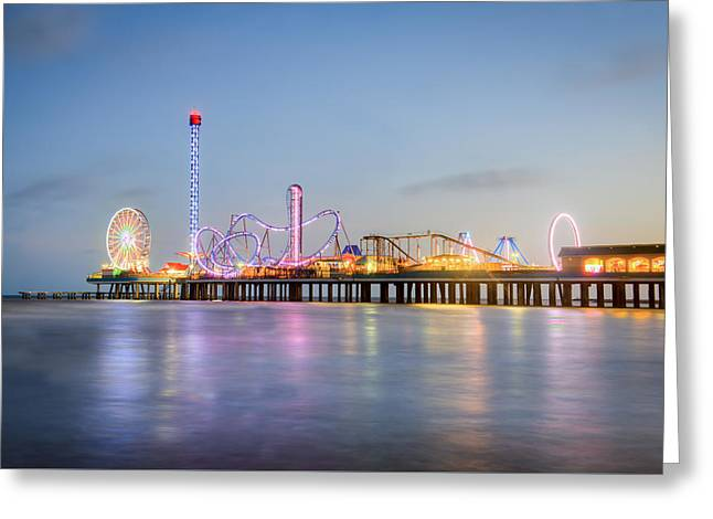 Galveston Pleasure Pier Sunset Greeting Card by Ray Devlin