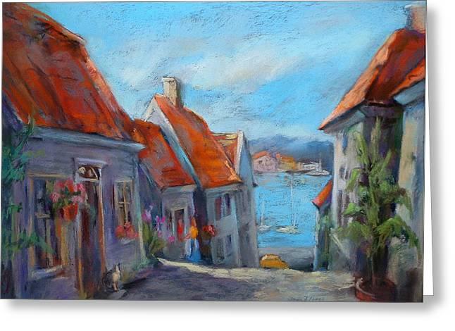 Gamle Bergen Greeting Card by Joan  Jones