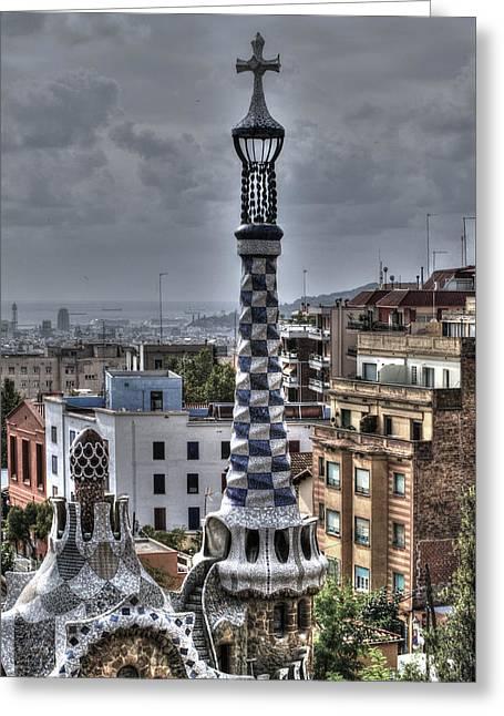 Gaudi's Church Greeting Card by Isaac Silman