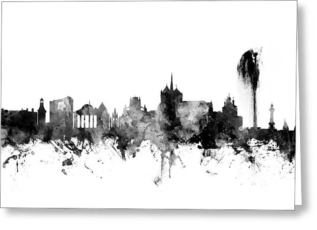 Geneva Switzerland Skyline Greeting Card by Michael Tompsett