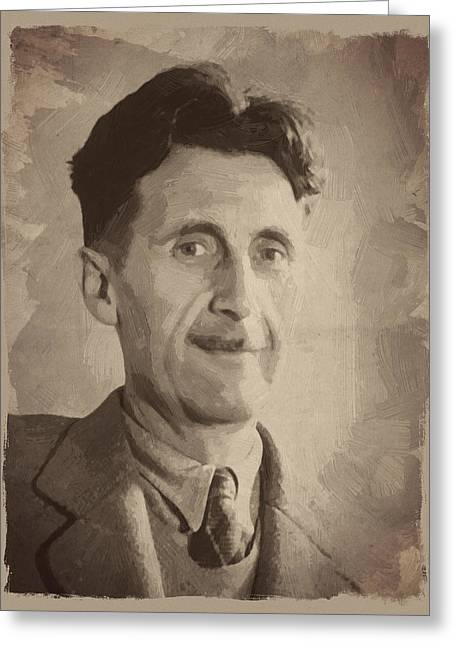 George Orwell 2 Greeting Card by Afterdarkness
