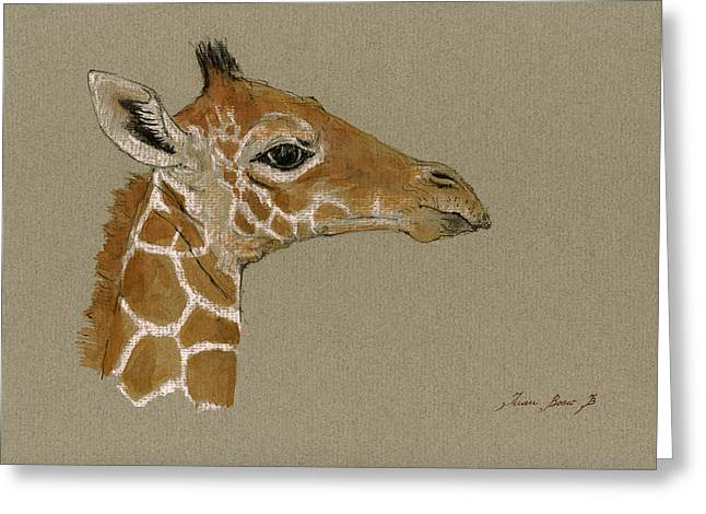 Giraffe Head Study  Greeting Card