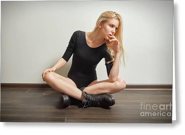 Girl In Black Bodysuit Greeting Card by Aleksey Tugolukov