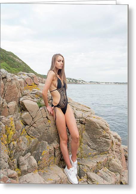 Girl In Black Swimsuit Greeting Card