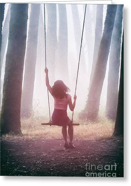 Girl In Swing Greeting Card by Carlos Caetano