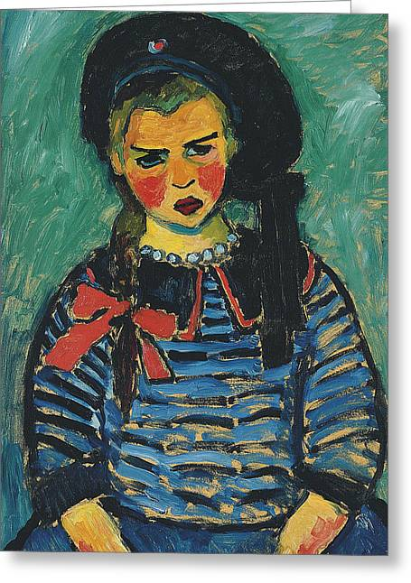 Girl With Red Ribbon Greeting Card by Alexej von Jawlensky