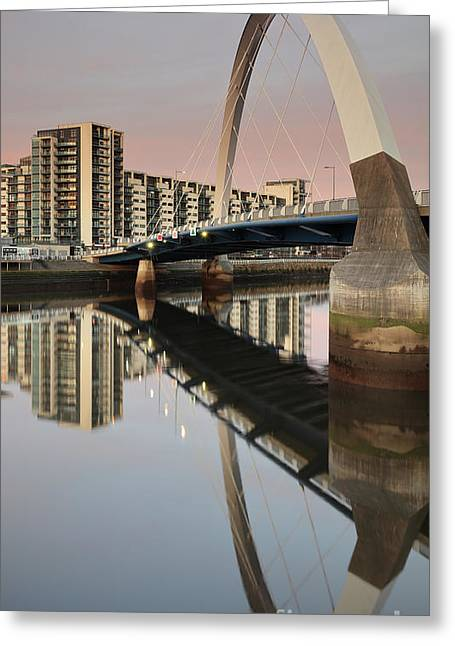 Glasgow Clyde Arc Bridge At Sunset Greeting Card