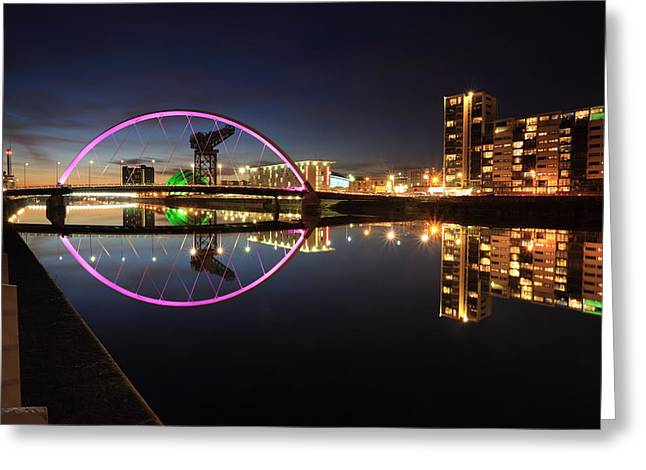 Glasgow Clyde Arc Bridge At Twilight Greeting Card
