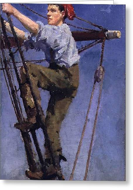Greeting Card featuring the painting Going Aloft by Henry Scott Tuke