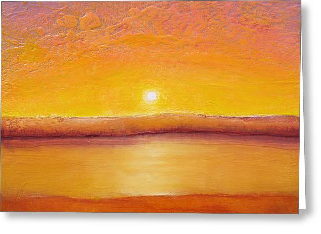 Gold Sunset Greeting Card by Jaison Cianelli