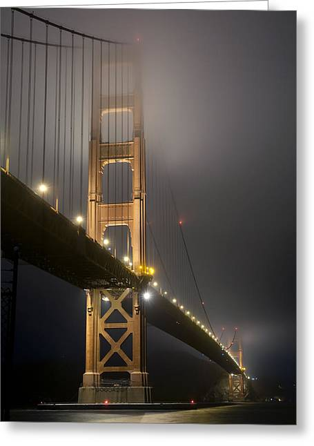 Greeting Card featuring the photograph Golden Gate Bridge At Night by Mike Irwin