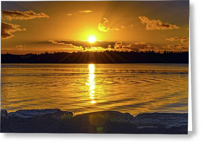 Golden Sunrise Waterscape Greeting Card